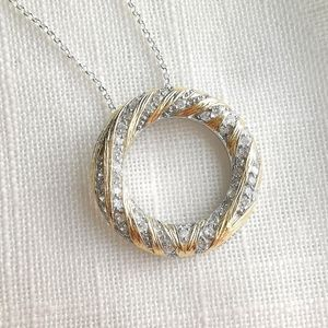 NWT, sterling silver 14k gold cz necklace